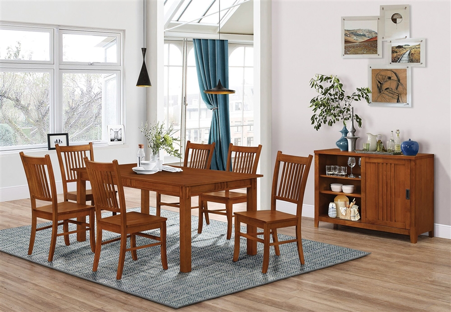 Marbrisa 7 Piece Dining Set In Medium Brown Finish By Coaster