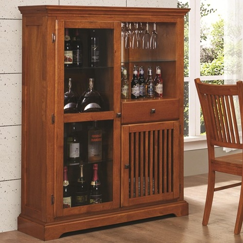 Marbrisa Mission Style Bar Cabinet In Medium Brown Finish By Coaster    100625