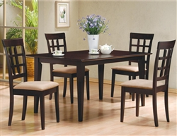 5 Piece Dining Set in Rich Cappuccino Finish by Coaster - 100771