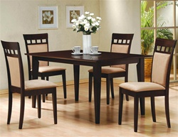 Cushion Back Chair 5 Piece Dining Set in Cappuccino Finish by Coaster - 100773