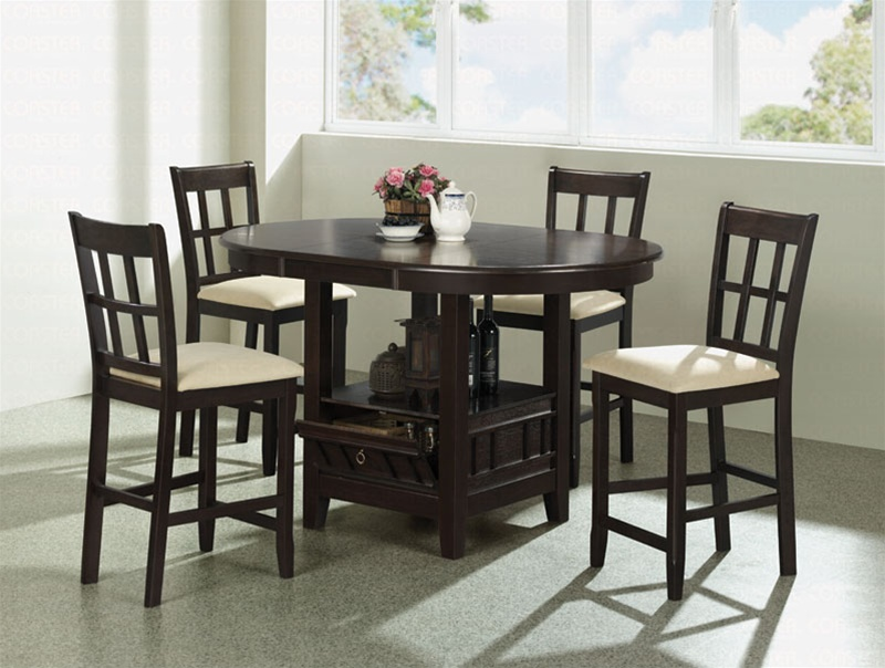 5 piece round counter height table set in dark cherry finish by
