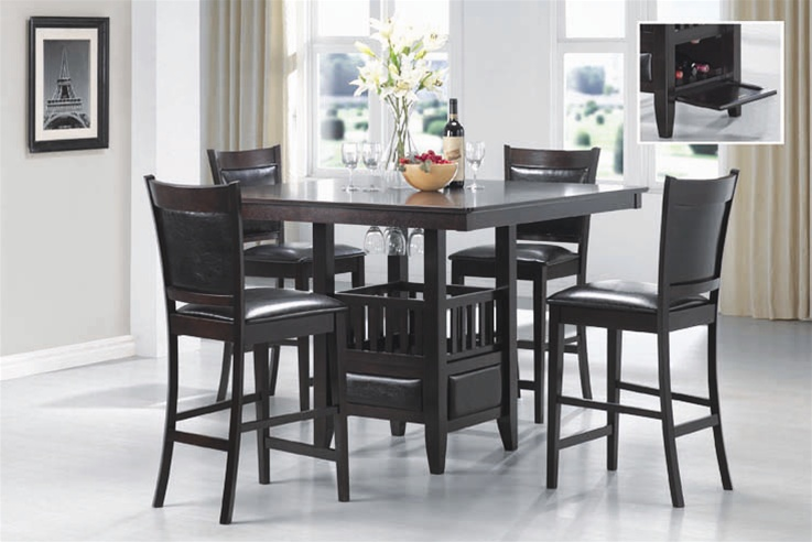 5 Piece Counter Height Dining Set in Rich Cappuccino Finish by