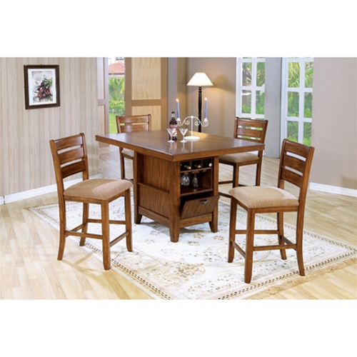 Counter Height 5 Piece Dining Table Kitchen Island Set With Wine Rack In Oak Finish By Coaster 101018