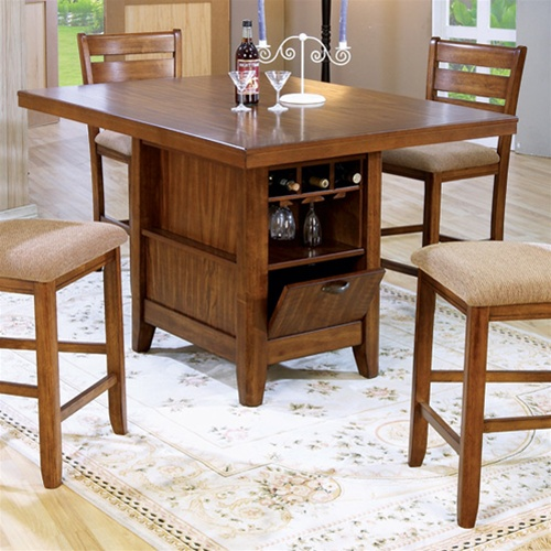 kitchen table with wine storage counter height 5 dining table kitchen island set 8647