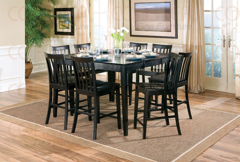 9 Piece Counter Height Table Set In Rich Black Finish By Coaster 101038blk