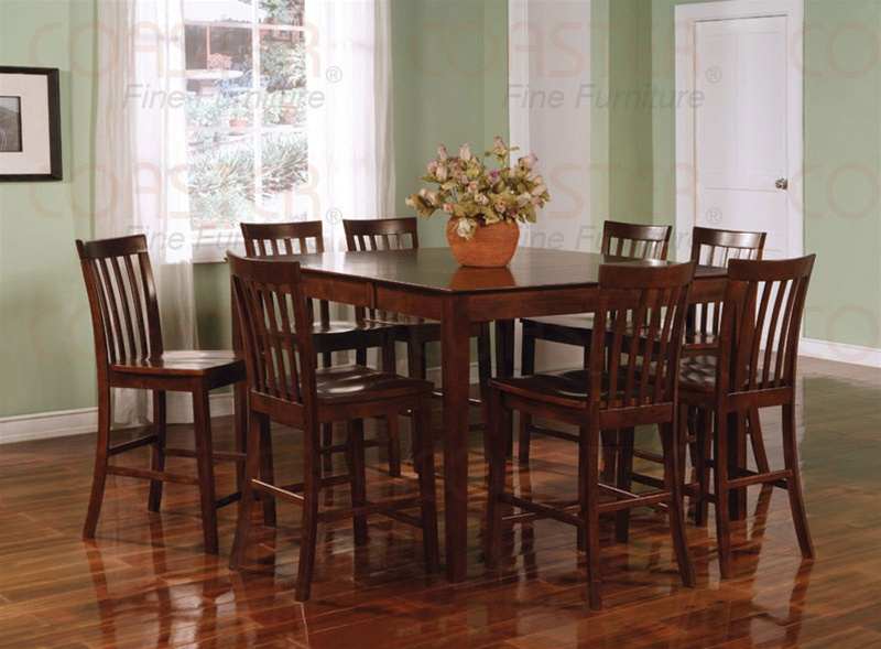 9 Piece Counter Height Table Set In Rich Walnut Finish By Coaster 101038wln