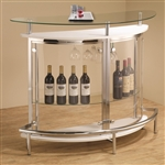 Contemporary White Bar Unit with Clear Acrylic Front by Coaster - 101066