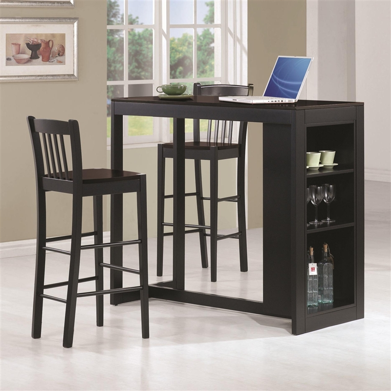 Black Bar Set: 3 Piece Bar Table Set In Black Finish By Coaster