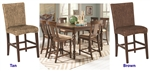 Jonas 5 Piece Counter Height Dining Set with Woven Stools in Rustic Brown Finish by Coaster - 101095