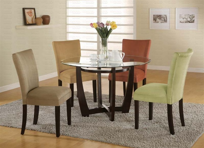 5 Piece Dinette Set With Round Glass Table Top In Cappuccino Finish By  Coaster   101490