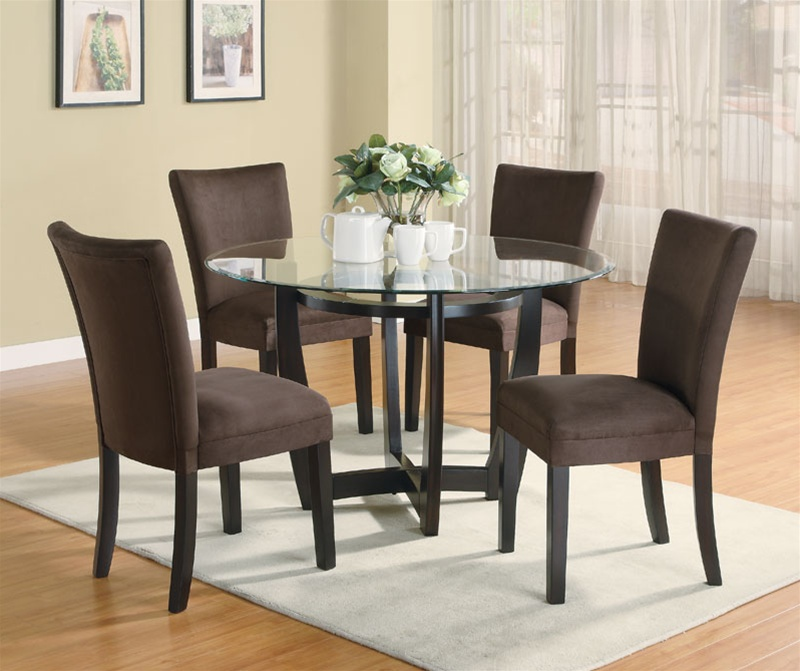 Piece Dinette Set With Round Glass Table Top In Cappuccino - 5 piece dining room sets