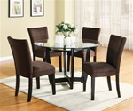5 Piece Dinette Set with Round Glass Table Top in Cappuccino Finish by Coaster - 101490CH
