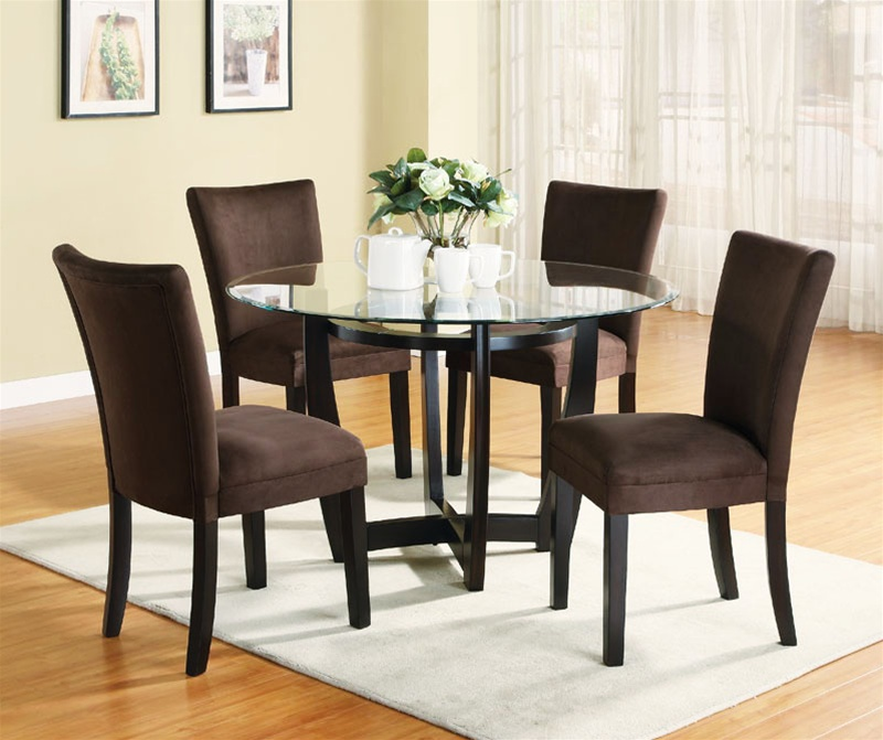 5 Piece Dinette Set with Round Glass Table Top in Cappuccino ...