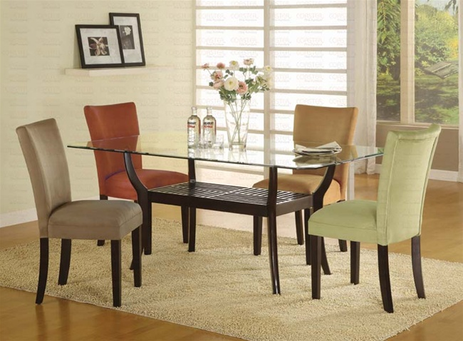 5 piece dinette set with rectangular glass table top in cappuccino finish by coaster