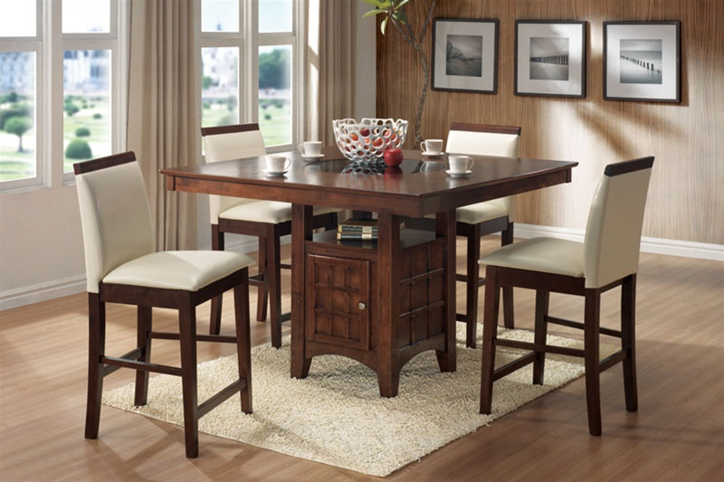 Roxy Lazy Susan Storage Base 5 Piece Counter Height Dining Set In Walnut Finish By Coaster 101559