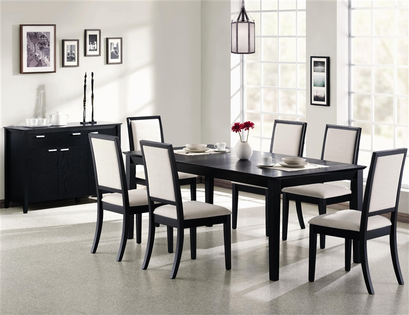louise 7 piece dining set in black finishcoaster - 101561