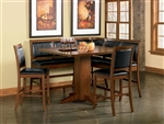 Lancaster 6 Piece Counter Height Corner Unit in Deep Distressed Dark Brown Finish by Coaster - 101791