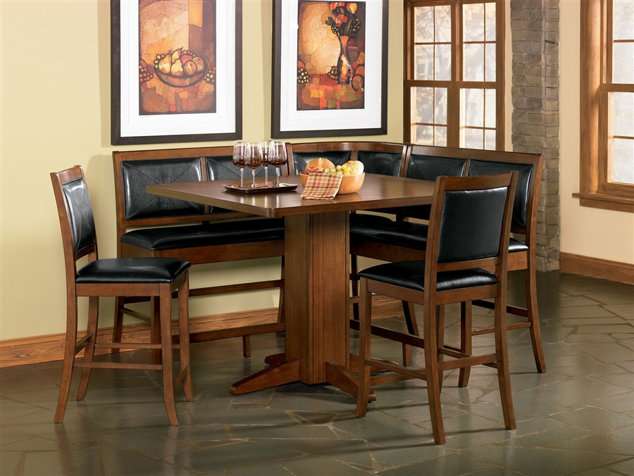 Lancaster 6 Piece Counter Height Corner Unit In Deep Distressed Dark Brown  Finish By Coaster   101791