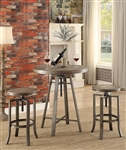 3 Piece Adjustable Bar Table Set in Brushed Nutmeg Finish by Coaster - 101811