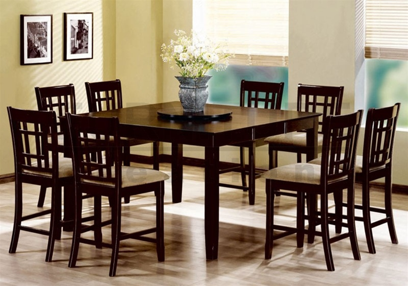 Rich Cuccino Finish Counter Height Lazy Susan 9 Piece Dining Set By Coaster 101898
