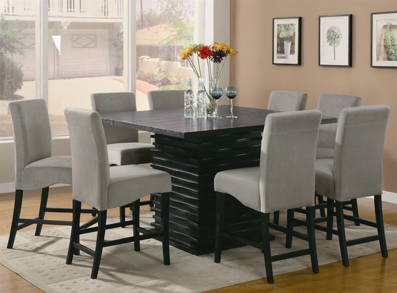 stanton 5 piece counter height dining set in rich black finish by coaster