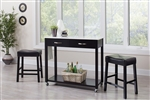 3 Piece Mobile Kitchen Cart Dinette in Black Finish by Coaster - 102137