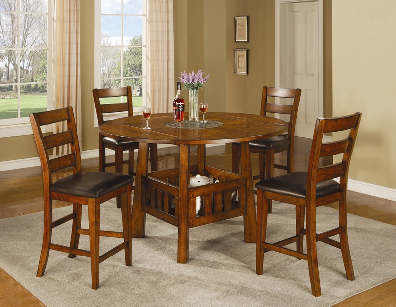 Lavista 5 Piece Counter Height Dining Set In Distressed Dark Oak Finish By  Coaster   102158