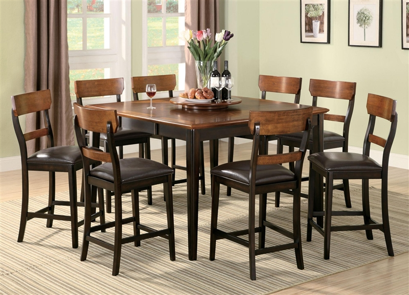 Franklin 7 Pc Counter Height Dining Set In Oak And Brown Finish By Coaster    102198