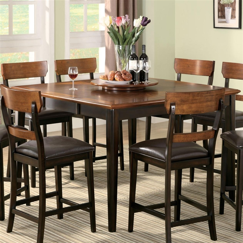 franklin 7 pc counter height dining set in oak and brown finish by coaster