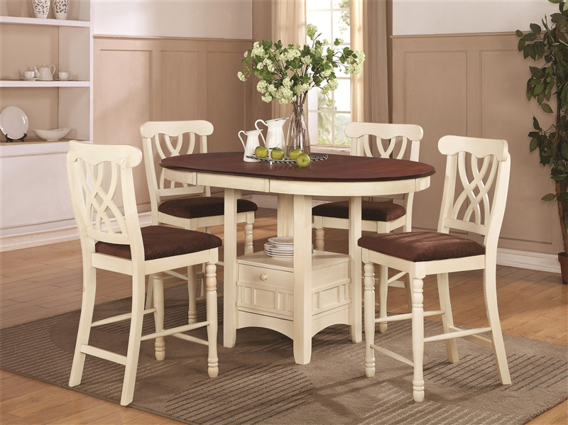 Lovely Cameron 5 Pc Cottage Counter Height Round Pedestal Table Set In Buttermilk  U0026 Dark Cherry Finish By Coaster   102238