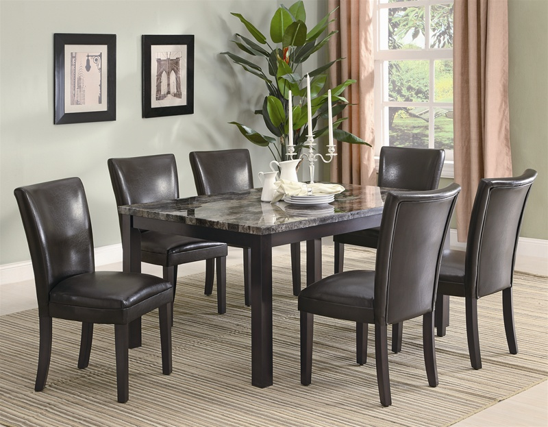 Sensational Carter 7 Piece Faux Marble Dining Set In Deep Cappuccino Finish By Coaster 102266 Short Links Chair Design For Home Short Linksinfo