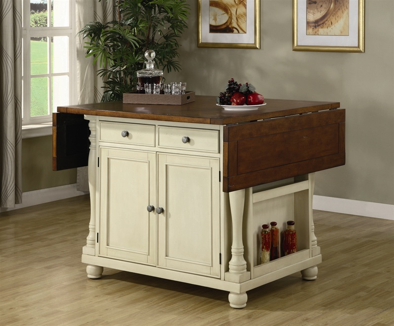 Kitchen Island Buttermilk and Cherry Two Tone Finish by ...