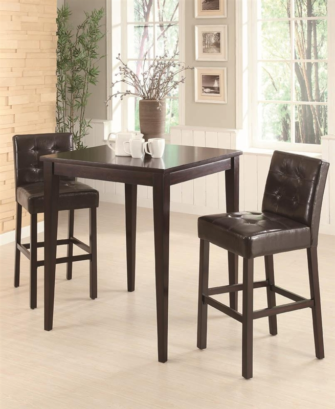 Cappuccino 3 Piece Pub Table Set By Coaster 102587