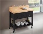 Kitchen Cart in Natural and Black Finish by Coaster - 102668