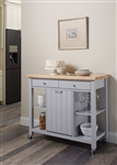 Kitchen Cart in Natural and Light Grey Finish by Coaster - 102674