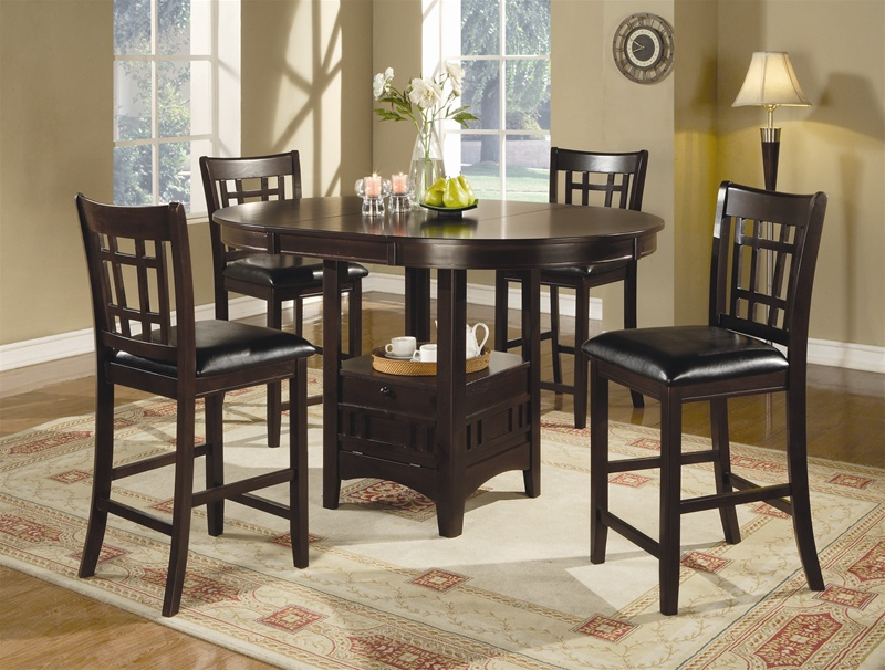 5 Piece Counter Height Dining Set In Dark Cuccino By Coaster 102888