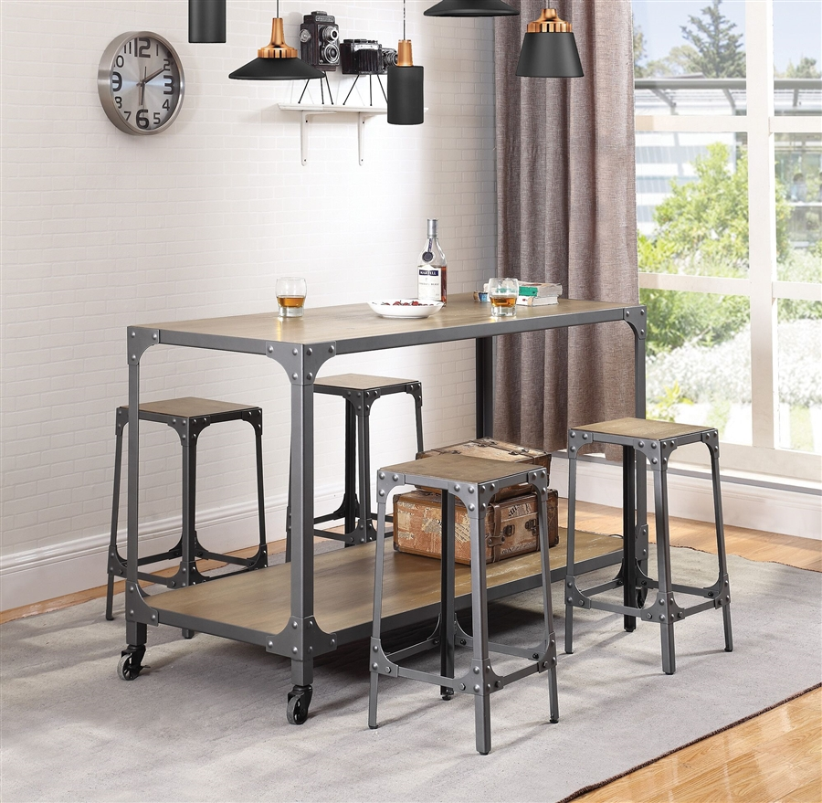 Multipurpose Industrial Kitchen Island In Rustic Light Brown And Gunmetal Finish By Coaster 102998
