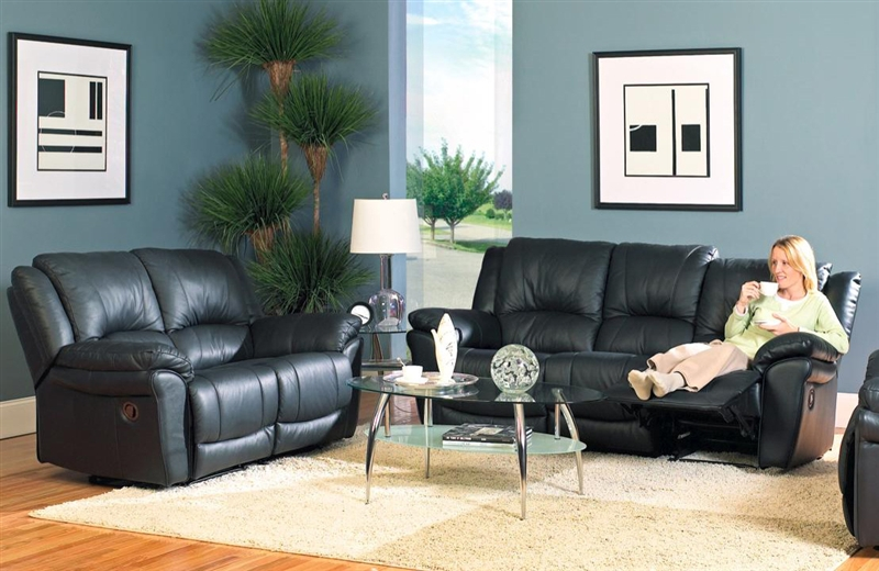 Promenade Collection - Black Leather Sofa Loveseat Set by Coaster - 7575S