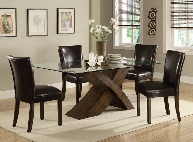 nessa 5 piece dining set in deep brown finishcoaster - 103051