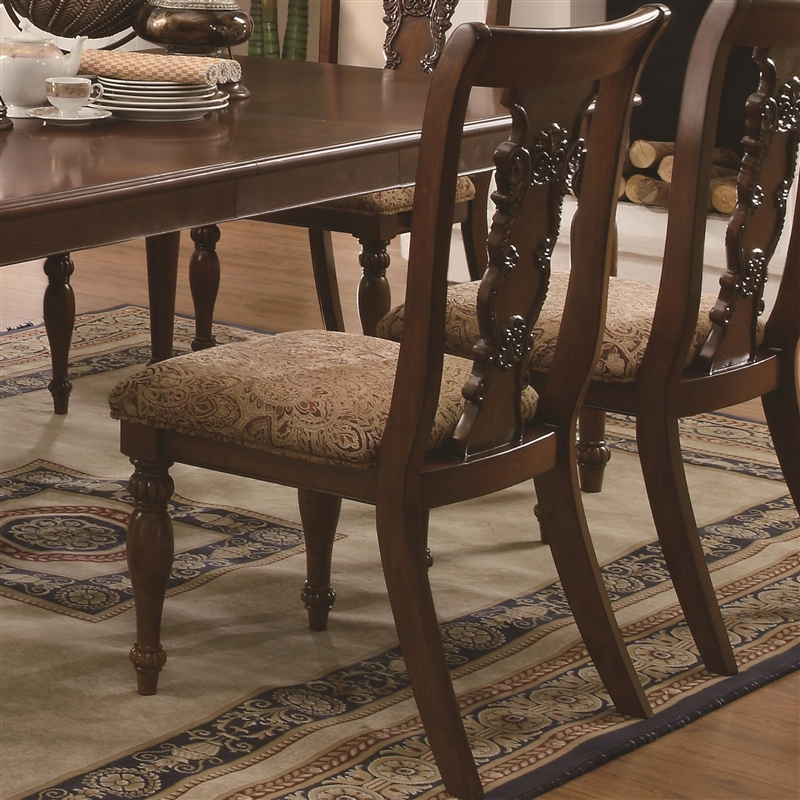 Dining Table Set Traditional addison 7 pc dining table set in cherry finishcoaster - 103511