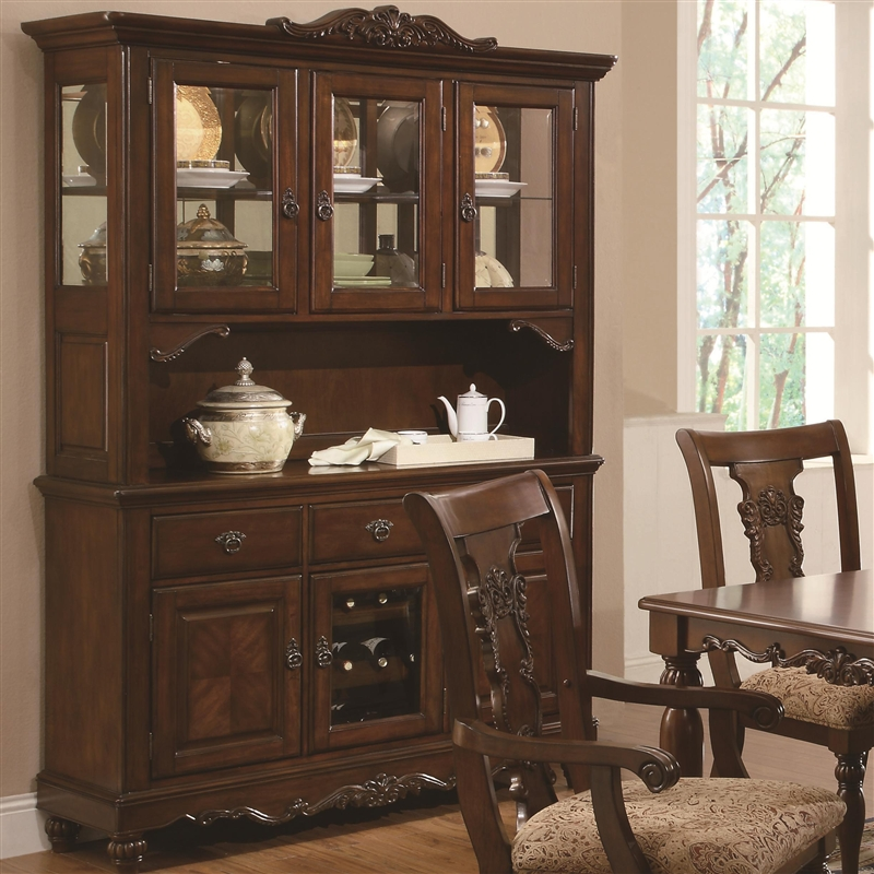 Elegant Addison Buffet U0026 Hutch In Cherry Finish By Coaster   103514