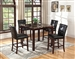 Ducey 5 Piece Counter Height Dining Set in Dark Brown Finish by Coaster - 103538