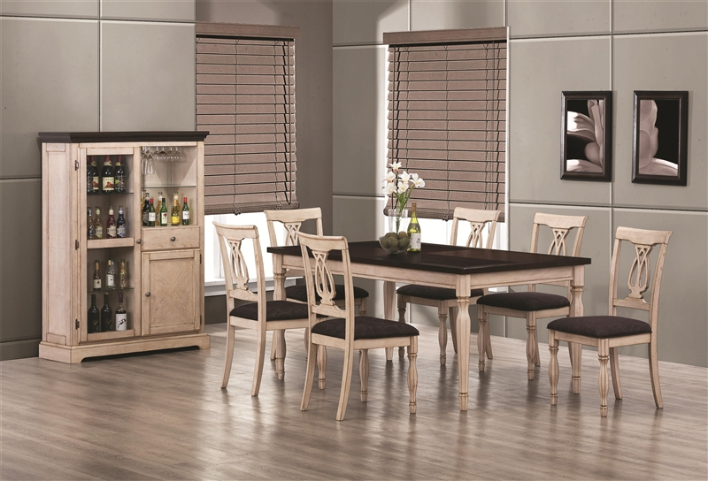 Camille 7 Pc Dining Table Set in Antiue White & Merlot Finish by ...
