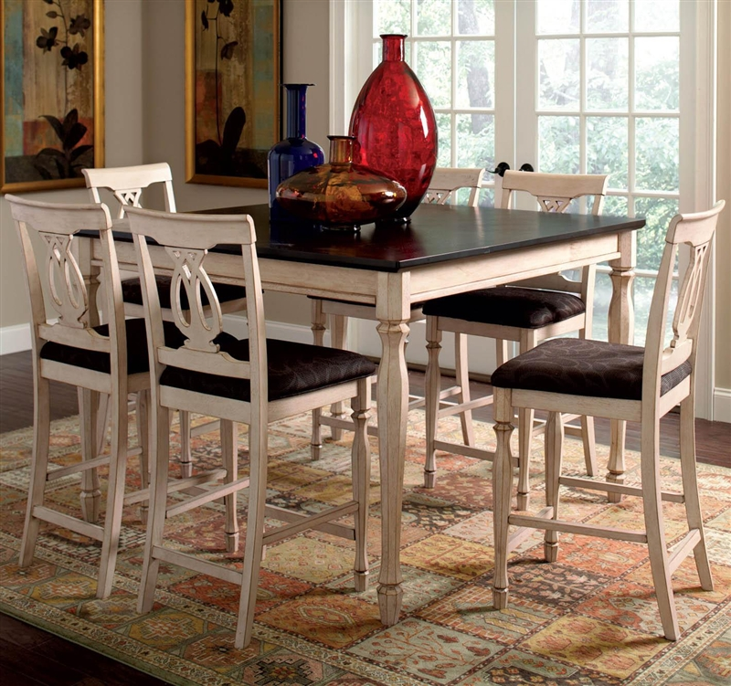 Camille 5 Piece Counter Height Dining In Antique White Merlot