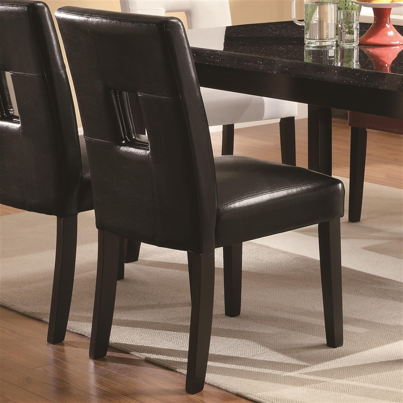timothy 7pc dining set w black red or white chairs in two tone finish by coaster