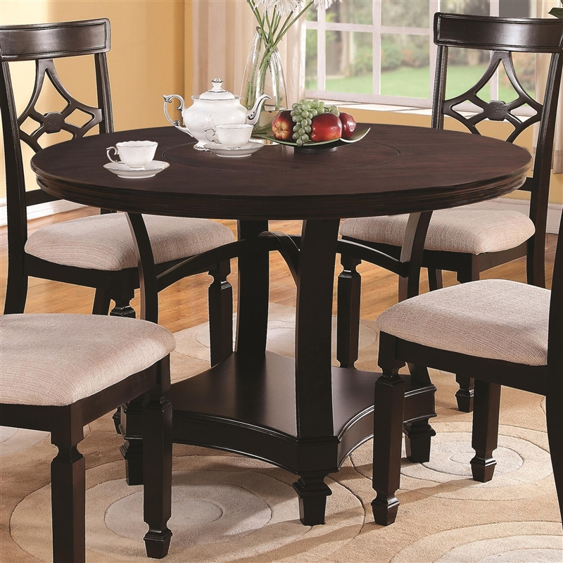 Maude Piece Round Dining Set In Cappuccino Finish By Coaster - 36 diameter dining table
