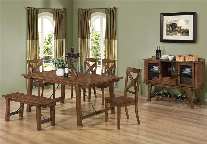 Lawson 6 Piece Dining Set In Rustic Oak Finish By Coaster 103991