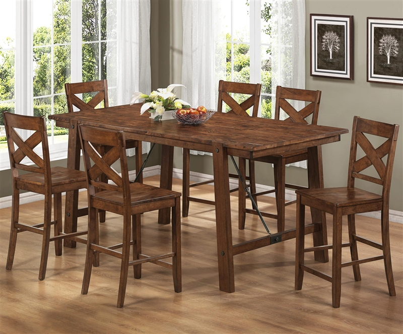 Great Lawson 7 Piece Counter Height Dining Set In Rustic Oak Finish By Coaster    104188