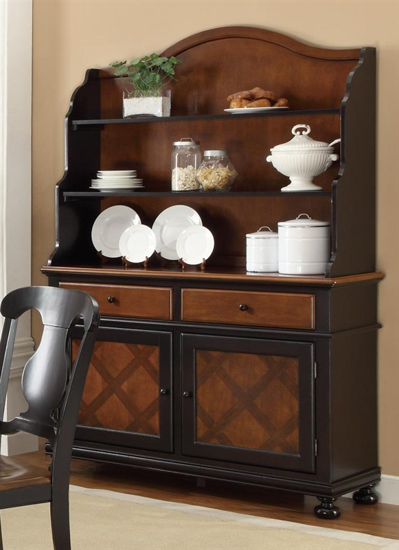 Connor Buffet & Hutch in Two Tone Tobacco and Black Finish by Coaster -  104194 - Connor Buffet & Hutch In Two Tone Tobacco And Black Finish By