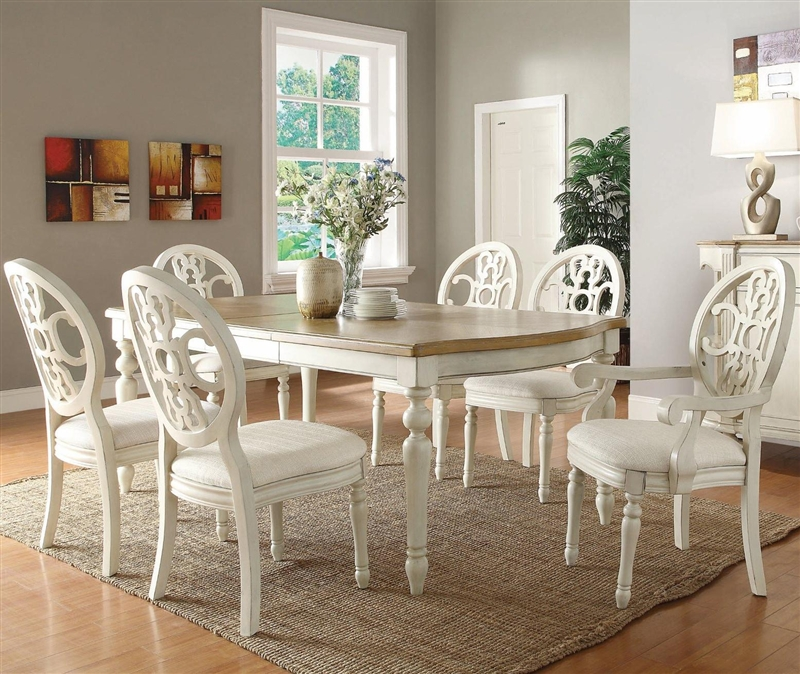 Rebecca 7 Piece Dining Set in Antique White and Oak Two Tone Finish by  Coaster - 104241 - Rebecca 7 Piece Dining Set In Antique White And Oak Two Tone